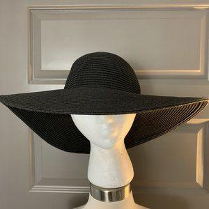J Crew Black Straw Sun Hat One Size